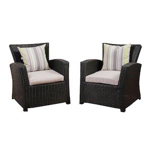 Atlantic 2-Piece Bradley Black Synthetic Wicker Patio Armchair Set with Light Grey Cushions
