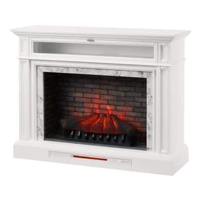 Keighley 52 in. Freestanding Faux Marble Surround Electric Fireplace TV Stand in White