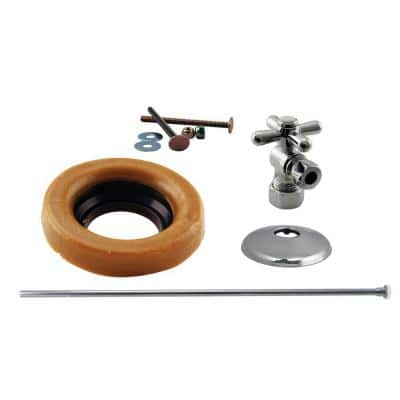1/2 in. Nominal Compression Cross Handle Angle Stop Toilet Installation Kit with Brass Supply Line in Polished Chrome