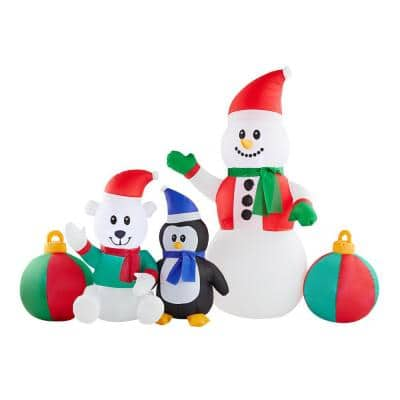 6.5 ft Pre-Lit LED Snowman and Friends Christmas Inflatable