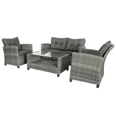 Grey 4-Piece Iron Plastic Rattan Patio Furniture Set with Dark Grey Cushions, 2-Single Chairs, Double Sofa and Tea Table