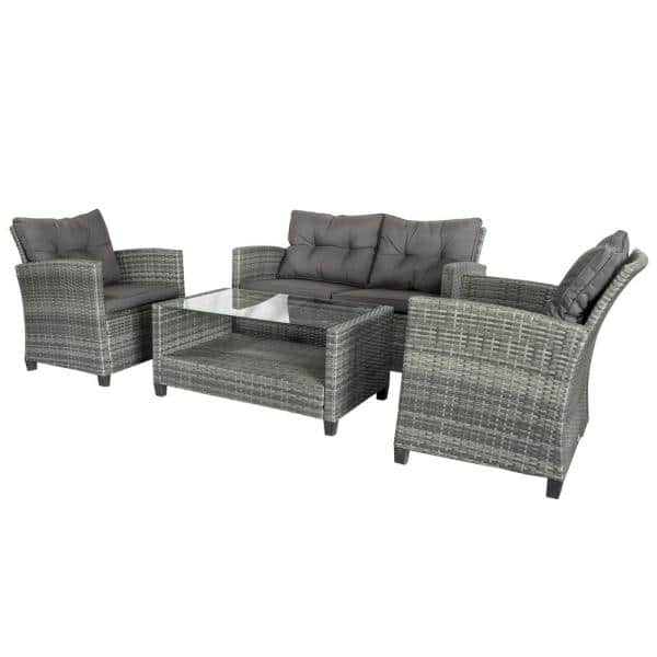 Outsunny Grey 4 Piece Iron Plastic, Outsunny Outdoor Furniture
