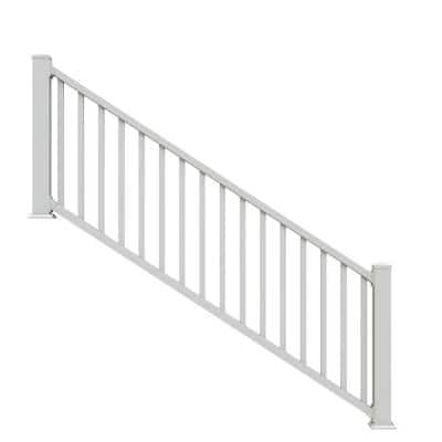 Select 8 ft. x 36 in. White Vinyl Stair Rail Kit with Square Balusters