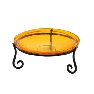 14 in. Dia Mandarin Orange Reflective Crackle Glass Birdbath Bowl with Short Stand II