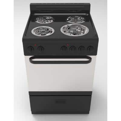 20 in. 2.2 cu. ft. 4-Burner Single Oven Electric Range with Storage Drawer in Black with Stainless Steel Door