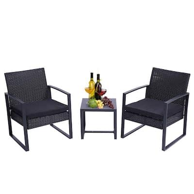 DIRECT WICKER Alisa Black 3-pcs Wicker Outdoor Patio Bistro Set with Black Cushion