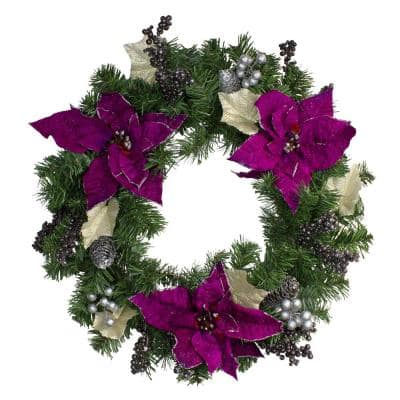 24 in. Unlit Two-Tone Pine with Purple Poinsettias Silver Pine Cones and Berries Christmas Wreath