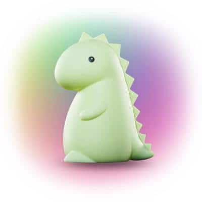 Tommy Dinosaur MultiColor changing Integrated LED Rechargeable Silicone Night Light Lamp, Green