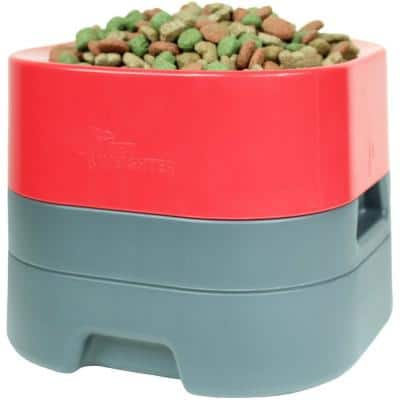 PetWeighter Bowl Large and Heavy Dog Food Bowl - Elevated Dog and Cat Water Bowl Large in Red