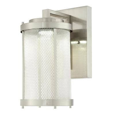Skyview 1-Light Brushed Nickel Outdoor Integrated LED Wall Lantern Sconce