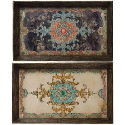 25 in. x 15 in. Decorative Tray in Rustic Brown (2-Pack)