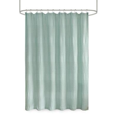 Eider Seafoam 72 in. Super Waffle Textured Solid Shower Curtain