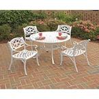 Sanibel 48 in. White 5-Piece Cast Aluminum Round Outdoor Dining Set
