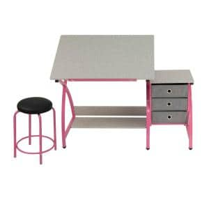 Comet 50 in. W x 23.75 in. D x 29.5 in. H Pink and Gray MDF Craft Table with Adjustable Top 3-Pull-Out Drawers and Stool