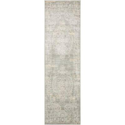 Euphoria Grey 2 ft. x 8 ft. Center Medallion Traditional Runner Rug