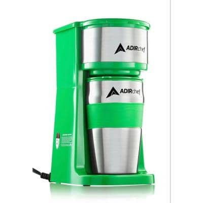 Grab'n Go Green Single Serve Coffee Maker with Stainless Steel Travel Mug
