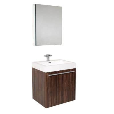 Alto 23 in. Vanity in Walnut with Acrylic Vanity Top in White with White Basin and Medicine Cabinet