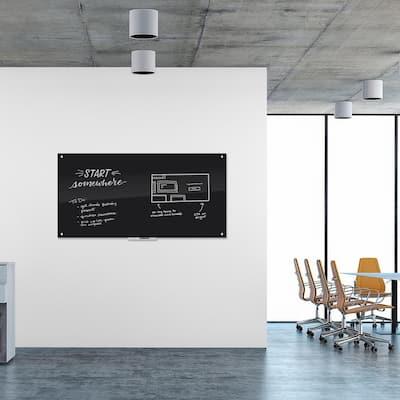 70 in. x 35 in. Black Surface Frameless Glass Dry Erase Board