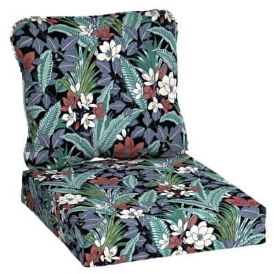 24 in. x 22 in. 2-Piece Tropical Deep Seating Outdoor Lounge Chair Cushion