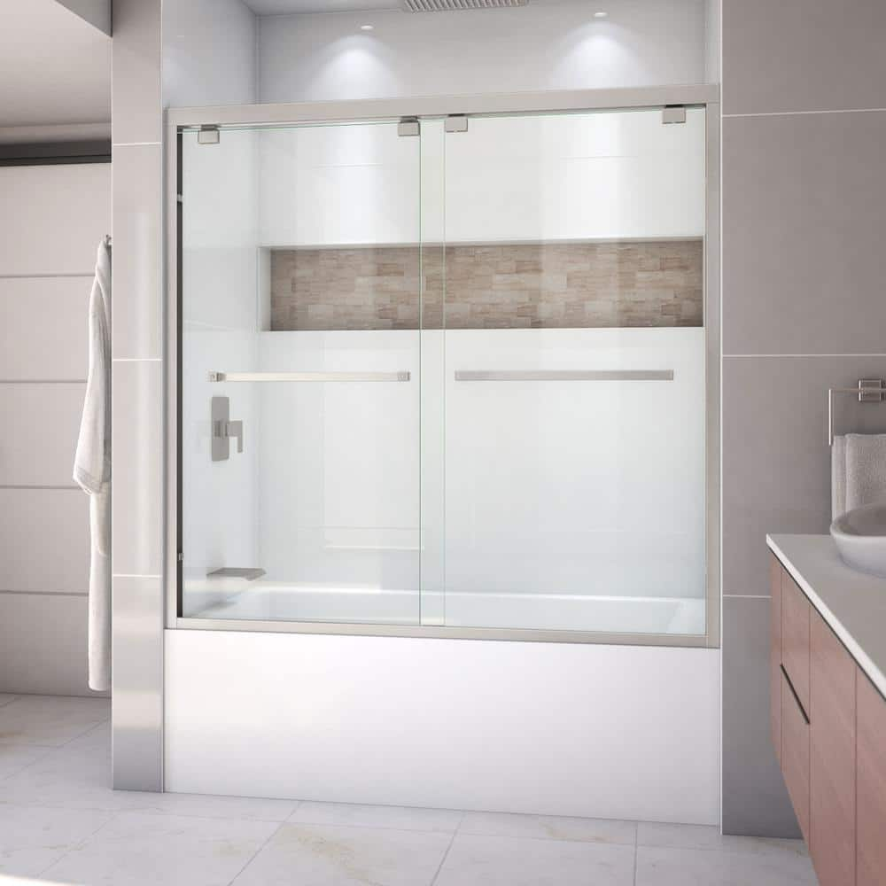 Dreamline Encore 56 To 60 In X 58 In Semi Frameless Bypass Tub Door In Brushed Nickel Shdr 1660580 04 The Home Depot