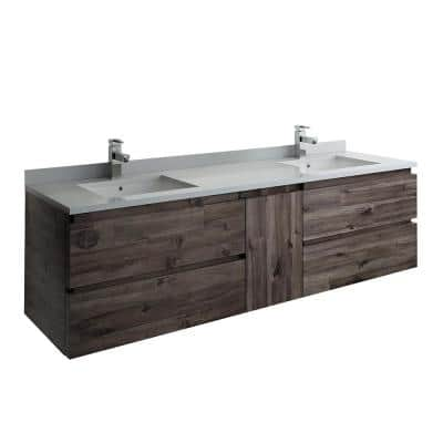 Formosa 70 in. W Modern Double Wall Hung Vanity Cabinet Only in Warm Gray