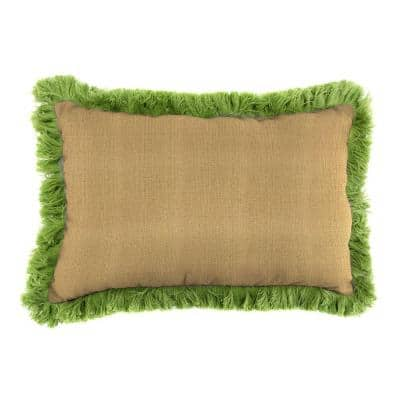 Sunbrella 9 in. x 22 in. Linen Straw Lumbar Outdoor Pillow with Gingko Fringe
