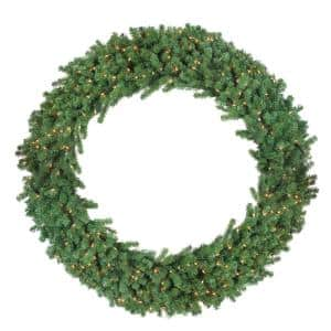 60 in. Pre-Lit Deluxe Windsor Pine Artificial Christmas Wreath with Clear Lights