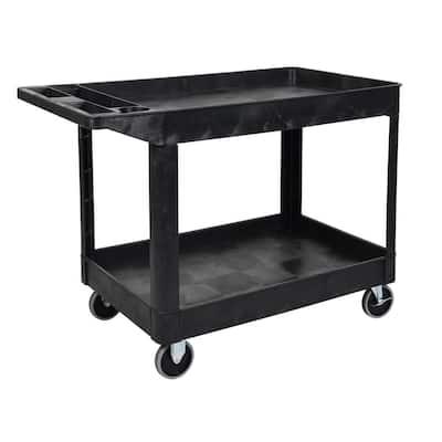 24 in. x 45 in. Two Shelf Heavy Duty Cart in Black