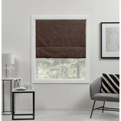 Acadia Chocolate Cordless Total Blackout Roman Shade 27 in. W x 64 in. L