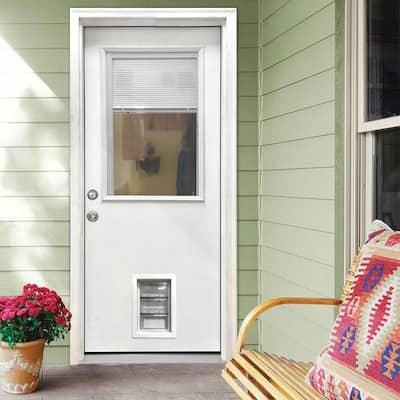 31-3/4 in. x 79 in. Clear 1/2-Lite Mini-Blind White Primed Fiberglass Front Door Slab with Medium Pet Door