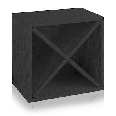 16 in. H x 16 in. W x 10 in. D Black Wood 1-Cube Storage Organizer