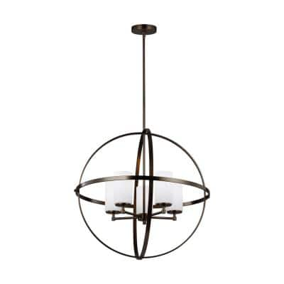 Alturas 5-Light Brushed Oil Rubbed Bronze Modern Hanging Globe Chandelier with Etched White Glass Shades