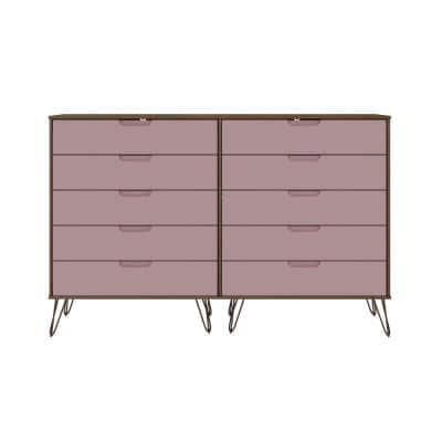 Rockefeller 10-Drawer Nature and Rose Pink Double Tall Dresser (44.57 in. H x 69.72 in. W x 19.02 in. D)