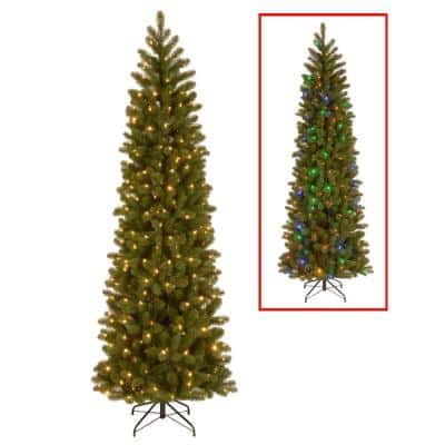7.5 ft. Downswept Douglas Pencil Slim Fir Artificial Christmas Tree with Dual Color LED Lights