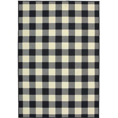 Collins Black/Ivory 5 ft. x 7 ft. Plaid Indoor/Outdoor Area Rug