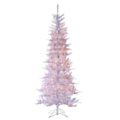 7.5 ft. Pre-Lit Tiffany White Tinsel Artificial Christmas Tree with Clear Lights
