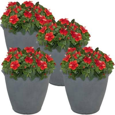 Anjelica 20 in. Slate Poly Outdoor Flower Pot Planter (4-Pack)