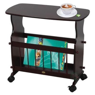 Wooden Magazine Rack Table, Accent End Side Table, with Rolling Casters