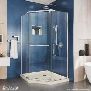 Prism 38 in. x 38 in. x 74.75 in. Semi-Frameless Pivot Neo-Angle Shower Enclosure in Chrome with Biscuit Shower Base