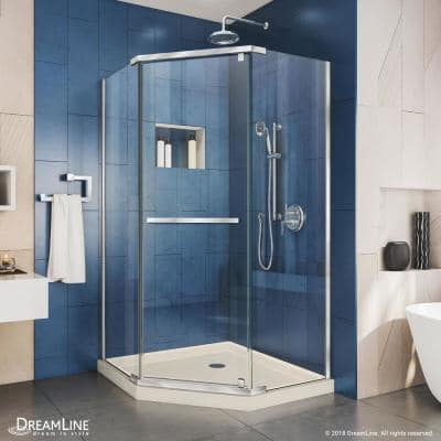 Prism 40 in. x 40 in. x 74.75 in. Semi-Frameless Pivot Neo-Angle Shower Enclosure in Chrome with Biscuit Shower Base