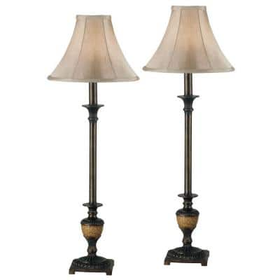 Emily 30 in. Crackled Bronze Buffet Lamp Set (2-Pack)