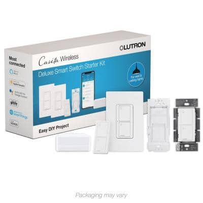 Caseta Deluxe Smart Switch Kit with Smart Bridge, 2 Smart Switches, Remote in White