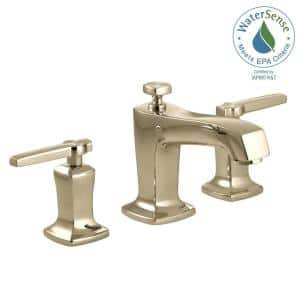 Margaux 8 in. Widespread 2-Handle Low-Arc Bathroom Faucet with Lever Handles in Vibrant French Gold