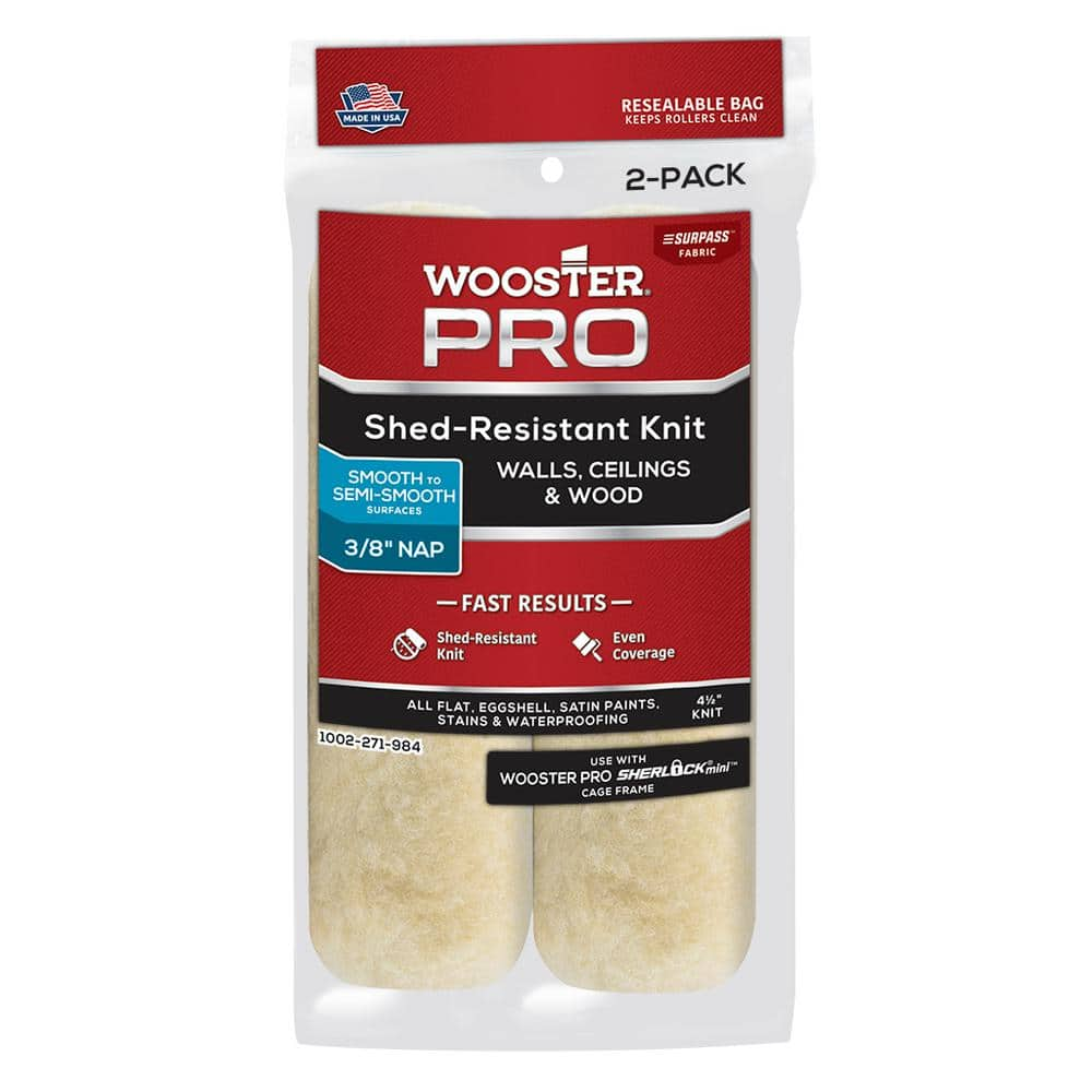 Wooster 4-1/2 in. x 3/8 in. Pro Surpass Shed-Resistant Knit High-Density Fabric Cage Frame Mini Roller (2-Pack)