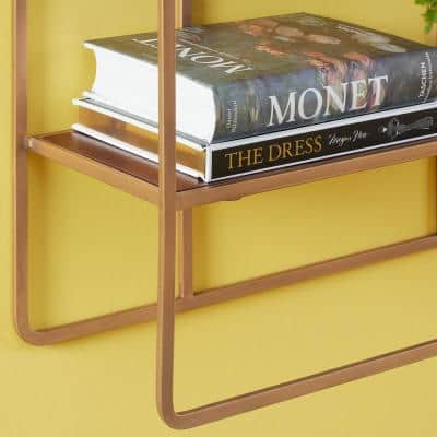 30 in. H x 22 in. W x 7 in. D Wood and Gold Metal Wall-Mount Bookshelf