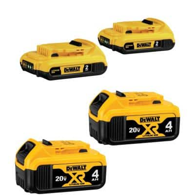 20-Volt MAX Compact Lithium-Ion 2.0 Ah Battery Pack (2-Pack) and 20-Volt MAX XR Lithium-Ion Battery Pack 4.0 Ah (2-Pack)