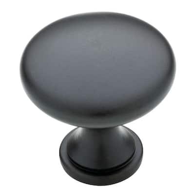 Classic Round 1-1/4 in. (32 mm) Matte Black Solid Cabinet Knob