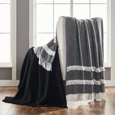 2-Pack Dion Black 100% Cotton 50 in. x 60 in. Throw Blanket