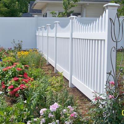 4 in. x 4 in. x 6 ft. White Vinyl Fence Line Post