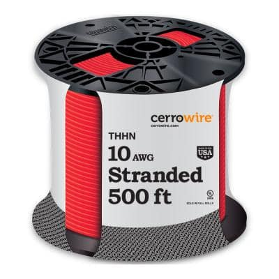 500 ft. 10-Gauge Red Stranded THHN Wire